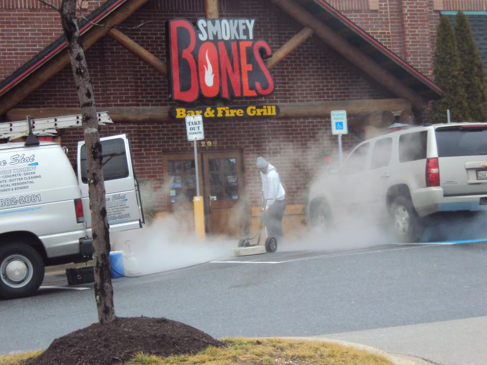 Sure Shot Pressure Washing cleaning at Smoky Bones BBQ